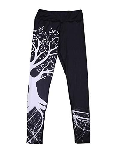 Yoga Hosen Damen, DoraMe Frauen Fitness Bewegung Athletischen Hosen Training Tree Drucken Yoga Leggings (L, Schwarz)