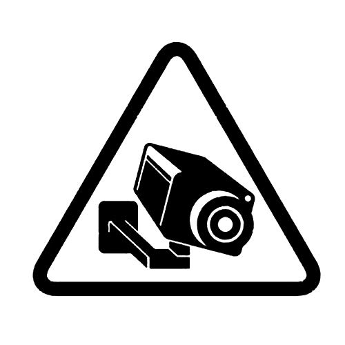 FAFPAY Sticker de Carro Cámara CCTV de 14,2 cm * 12,5 cm, señal de videovigilancia, Vinilo Negro/Plateado, Pegatina para Coche C22-0885Negro