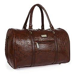 Fur Jaden Brown Textured Leatherette Stylish & Spacious Weekender Duffle Bag for Travel for Men and Women,FUR JADEN,DUFF05_Brown