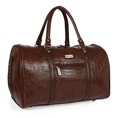 Fur Jaden Brown Textured Leatherette Stylish & Spacious Weekender Duffle Bag for Travel