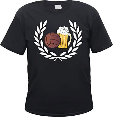 Lorbeerkranz Fussball Bier T-Shirt Schwarz L