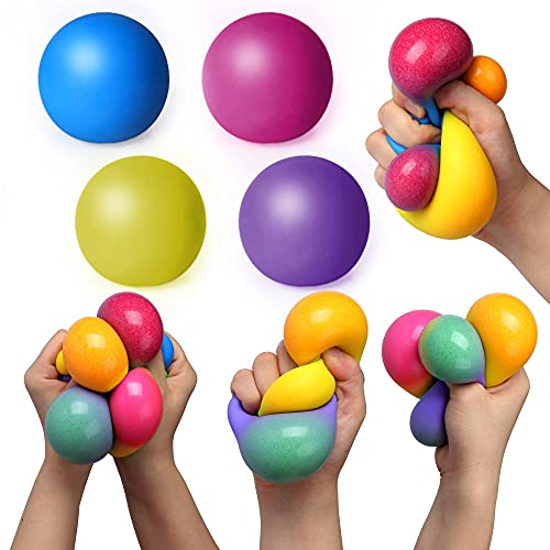 Sensory Stress Balls - Stress Relief Fidget Balls for Kids/Adults to Relax, Anxiety Relief, Decompress, Focus, Squeeze Toys for Autism(4 Pack)