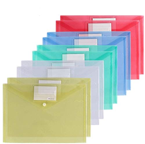 Xzyppci Plastic Envelopes Poly Envelopes, 40 Pack Clear Document Folders US Letter A4 Size File Envelopes with Label Pocket & Snap Button for School Home Work Office Organization, 5 Assorted Colors