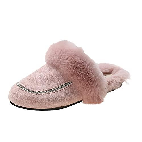 URIBAKY - Zapatillas de exterior para mujer, transpirables, color puro, antideslizantes, para interior y exterior, cálidas, de peluche, rosa, 39 EU