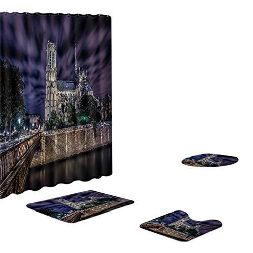Xmiral Duschvorhänge Badezimmerteppich U-Pad über WC-Sitzkissen 4 Stück Satz Notre Dame de Paris Serie(BL)