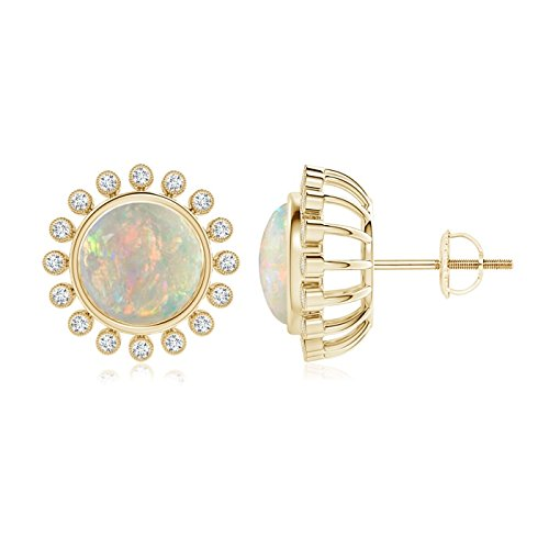 Holiday Gift - Bezel-Set Opal and Diamond Halo Stud Earrings in 14K Yellow Gold (8mm Opal)