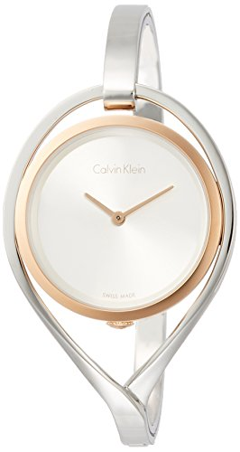 Calvin Klein Damen Analog Quarz Uhr mit Edelstahl Armband K6L2MB16