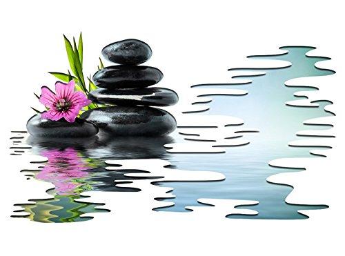 3D Wandtattoo Wellness Orchidee Steine Wasser Feng Shui Yoga selbstklebend Wandbild sticker Wand Aufkleber 11H900, Wandbild Größe F:ca. 97cmx57cm