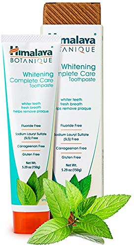 Himalaya Botanique Complete Care Whitening Toothpaste, Simply Peppermint, for a Clean Mouth, Whiter Teeth and Fresh Breath, 5.29 oz