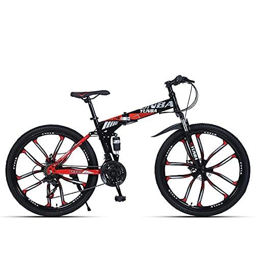 Bicicleta Adulta, Bicicleta De Montaña De Freno De Absorción De Amortiguador Plegable 24 Pulgadas / 26 Pulgadas De La Velocidad del Estudiante-Negro Rojo Diez Cuchillo Rueda_26 Pulgadas 24 Velocidad,
