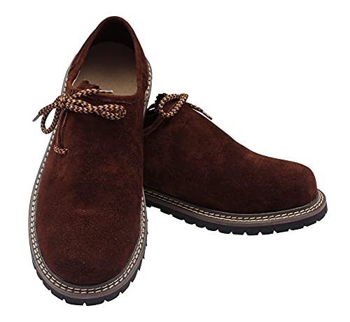 McWilliams Lederhosen Men's Authentic Bavarian German Brown – Oktoberfest Leather Trousers (Shoe, German 45 / US 12, Shoes Dark Brown)