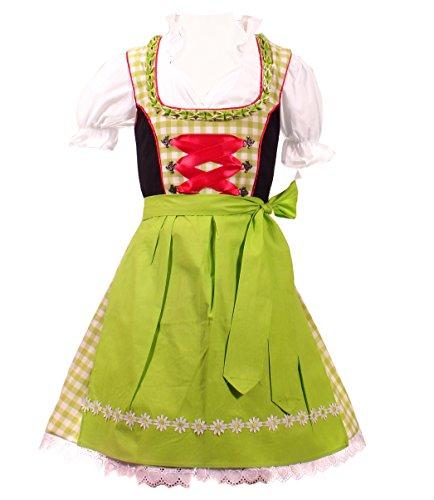 3tlg. Kinder Dirndl, grün weis kariert, 146