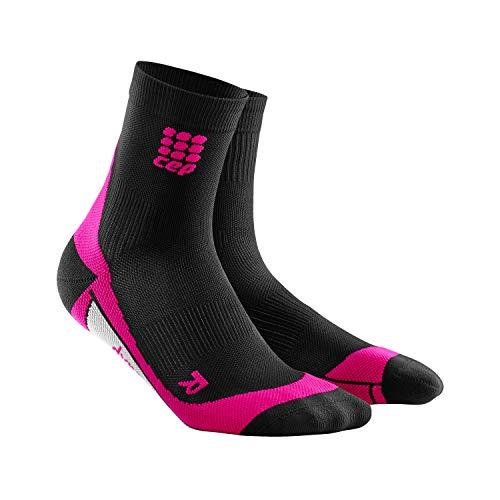 CEP – SHORT SOCKS 2.0 für Damen | Kurze Laufsocken mit Kompression in schwarz / pink | Größe II