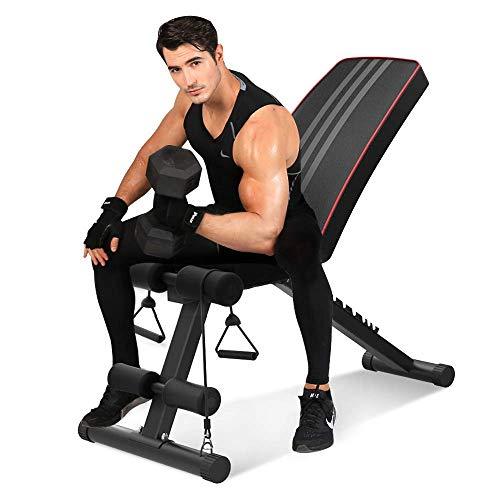 Bigzzia Adjustable Olympic Weight Bench - 7 Positions, 330 lbs Capacity, Folding Flat/Incline/Decline FID Bench, Perfect for Full Body Workout and Home Gym