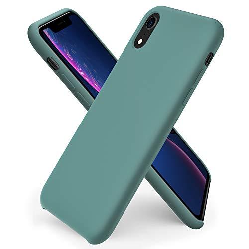 ORNARTO Liquid Silicone Case for iPhone XR, Slim Liquid Silicone Soft Gel Rubber Case Cover for iPhone XR(2018) 6.1 inch-Pine Green