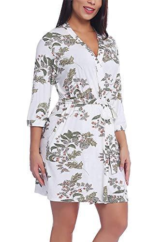 YONIER Bata para Satén Mujer con Escote en V Sexy y Elegante Albornoz de Kimono de Mujer Ropa de Dormir con Cinturón Pijamas de Verano S-XXL