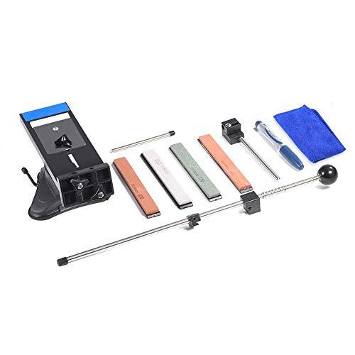 Sistema de afilado de cuchillos de ángulo fijo profesional Marco de afilado de cuchillos antideslizante con herramienta de afilador de cocina de 4 piedras de afilar
