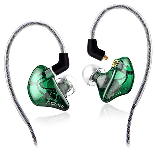 BASN Bsinger+PRO in Ear Monitor for Musicians with MMCX Replaceable Cables; Noise-Isolating and Universal-Fit (Green)