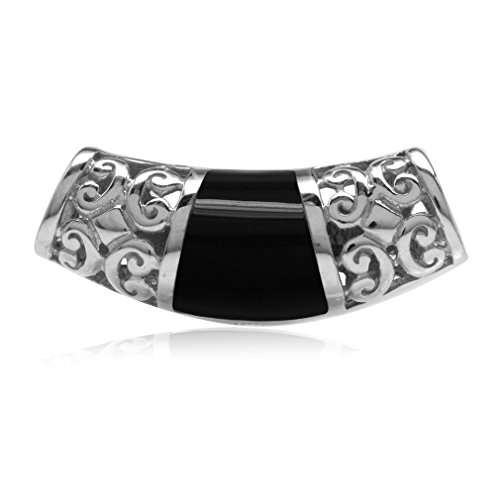 Silvershake Created Black Onyx Inlay White Gold Plated 925 Sterling Silver Filigree Slide Pendant