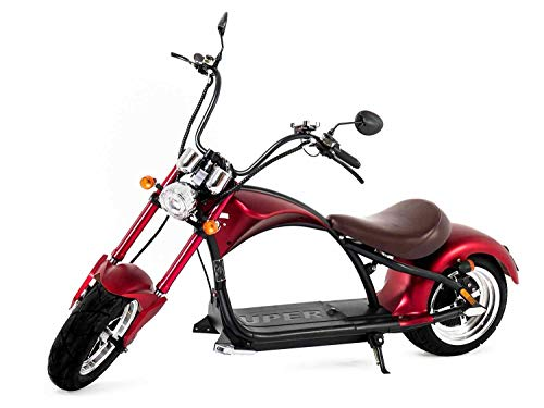 Elektroroller mit Straßenzulassung Chopper X9, E-Scooter E-Roller 45 km/h, 3000 Watt, 30Ah, 80km Reichweiter, Roller, Rot