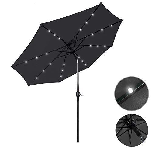 Aufun Sonnenschirm 300cm mit kurbel und Solarbetriebene Weiß LED UV Schutz Neigbar 40+ - Dunkelgrau Alu Balkon Terrassenschirm Marktschirm Gartenschirm (Dunkelgrau)