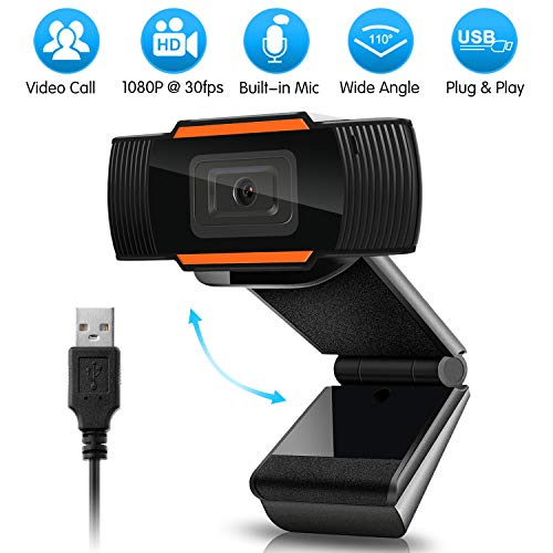 HD 1080P Webcam with Microphone, USB(2.0/3.0) Computer Camera for Live Streaming Webcam,110 Degrees Wide-Angle 30fps for Laptop, Noise Reduction Desktop,Conferencing, Video Chatting