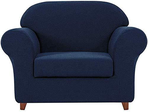HYLDM Fundas de sofá de 2 Piezas con diseño geométrico, Tela elástica, sillón, sillón, Funda de cojín para Sala de Estar (Azul, 1 Plaza/Silla)
