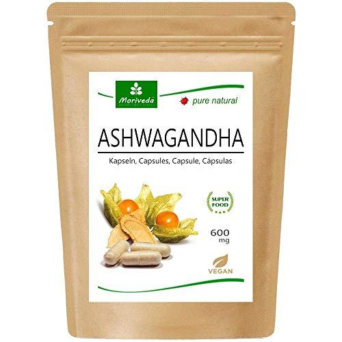 Ashwagandha kapsulas 600 mg vai tabletes 1000 mg - augstākās kvalitātes tīrs dabīgs produkts - ziemas ķirsis, Indijas žeņšeņs (120 kapsulas)
