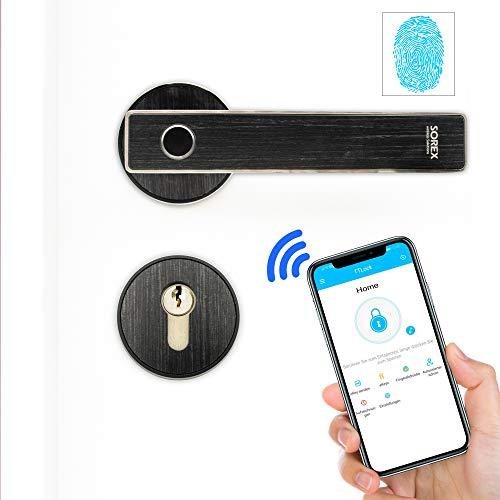 SOREX FLEX Türgriff Elektronisch Fingerabdruck Schloss mit deutschem Support! per Bluetooth App Steuerbar, Fingerprint Türbeschlag- inkl. Batterien, Smart Lock Türklinke