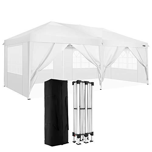 COBIZI Pavillon 3x3 Wasserdichter Gartenpavillon Zelt Hochzeitsfeier Instant Event Shelter mit 6 Abnehmbaren Seitenwänden, Pfähle x 12, Seile x 6