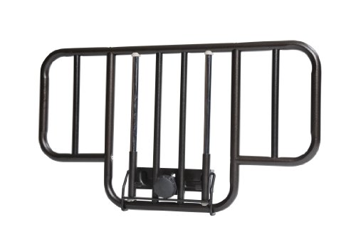 Drive Medical No Gap Deluxe Half Length Side Bed Rails with Brown Vein Finish, Brown Vein, Half Length - Pack of 2