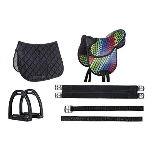 HKM 10604 Colourful - Sillín para bicicleta (cincha, estribos, corazón), color negro