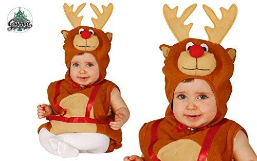 Guirca - 42531 Costume de renne pour enfant 6/12 mois garçon, marron et rouge, GU_42531