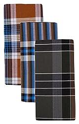 Mersal Mens Poly-Cotton Checks Lungi/Sarong (Multi-Coloured, Set of 3) Assorted Checks or Color may Vary