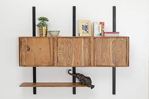 Kare Design Brooklyn Nature Wandregal Waagerecht, Regal aus Massivholz Akazie und Stahlgestell, Schwarz Braunes Wandregal für das Wohnzimmer, Stauraum für den Wohnbereich (H/B/T) 120x145x22cm