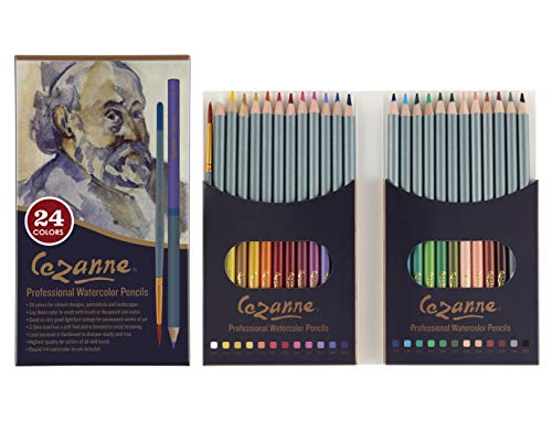 Cezanne Professional Watercolor Pencil Set of 24 Colors, Artist Quality Water-Soluble Soft Core Leads for Watercolour Techniques, Layering, Blending, Drawing, Shading, Wet or Dry Applications
