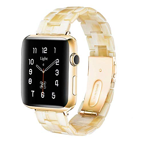 Light Apple Watch Band - Fashion Resin iWatch Band Bracelet Compatible with Copper Stainless Steel Buckle for Apple Watch Series SE Series 6 Series 5 Series 4 Series 3 Series 2 Series1 (Lvory White, 38mm/40mm)