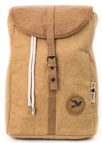 Papero ® Rucksack aus Kraft- Papier | Ultra minimalistisch Herren Damen, Robust, Wasserfest Vegan fair nachhaltig Urban Style FSC Zertifiziert | Daypack, Rolltop mit Laptopfach