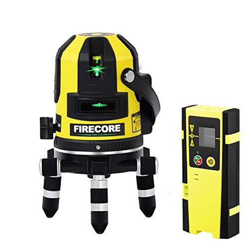 Firecore Kreuzlinienlaser und Plumb Punkt Laser FIR411G Rotationslaser Grün Laser mit Laser-Empfänger und Transportkoffer (Akku Ladegerät,Arbeitsbereich mit Empfänger:50 m )
