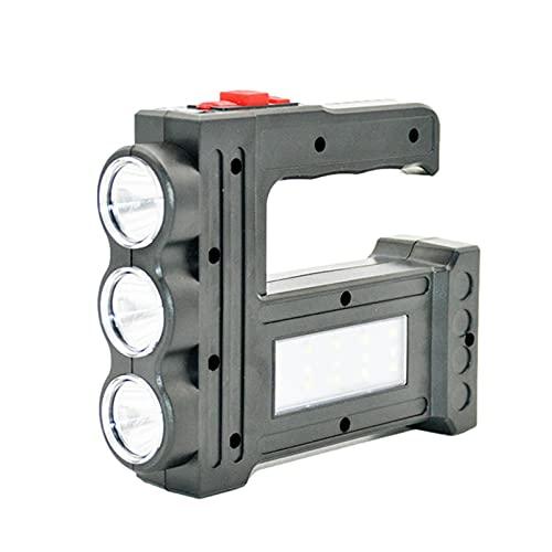 Foco LED recargable, multifunción e impermeable, linterna de 3 luces LED, luz táctica súper brillante para acampar, con luz lateral, 1200 / 2400mAh Searchlight Power Bank, para acampar, senderismo, Cl