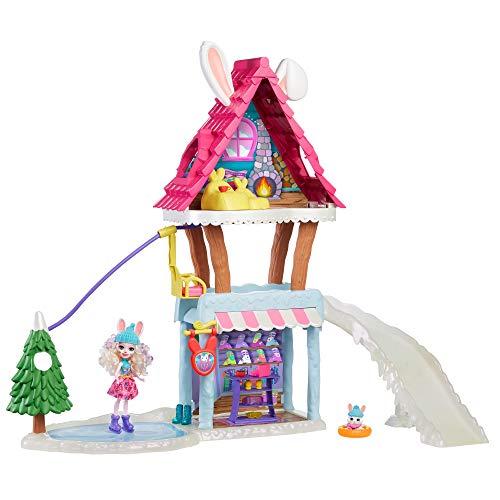 Enchantimals GRW92 - Hasen-Skihütte (ca. 63 cm) mit Bevy Bunny-Puppe (ca. 15 cm) und Tierfreundin Jump, Abweichungen in Verpackung vorbehalten