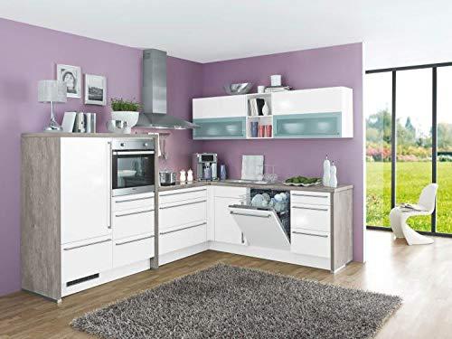 RASANTI Winkelküche GLORIETTE 341 inkl E-Geräte 283 x 229 cm von Burger Weiss Hochglanz
