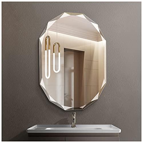 JWZQ 1x Espejo para Baño, Espejo de Pared de Cosmético Sin Marco Ovalado, Espejo de Afeitar de Maquillaje Decorativo 45x60cm,...