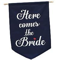 Here comes the bride ウェディングフラッグ (ネイビー) フラワーガール、リングボーイが持って結婚式の演出に!