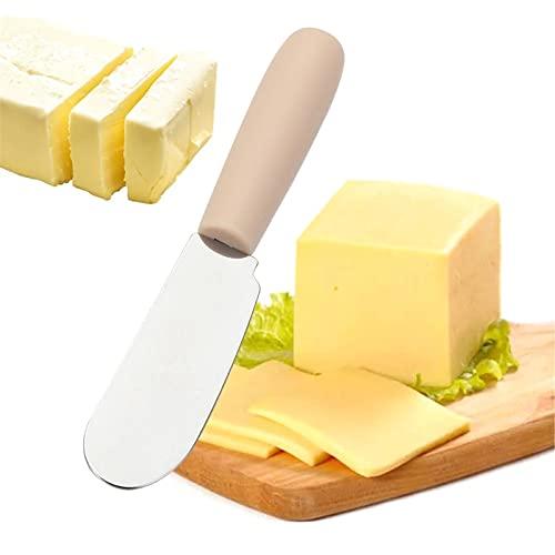 Esparcidores de Queso Mini espátula de Acero Inoxidable Espátula Spaparecker Desayuno Sandwich Cheese Slicer Spreader Spreader Spreader con Mango de plástico (Color : Wooden Color, Size : 1pcs)