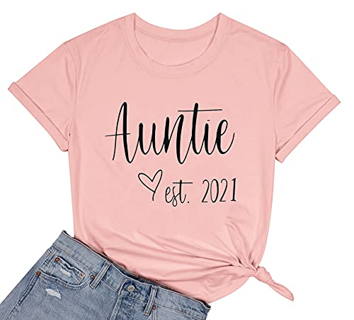 Women Auntie Love Heart Shirt Cute Aunt Est 2021 Graphic T-Shirt Casual Aunty Gifts Tee Tops