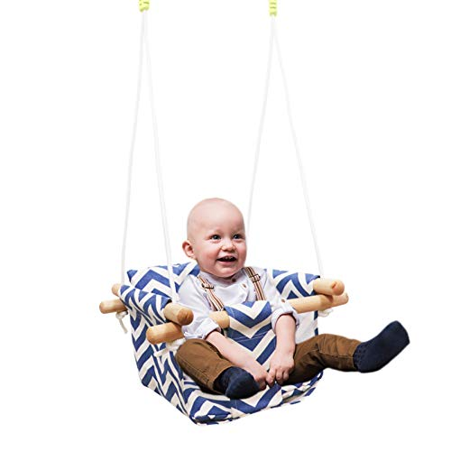 Baby Kids Canvas Hanging Swing with Soft Cotton Cushions, Wooden Canvas Baby Swing with Cushion and PE RopesIndoor&Outdoor Hammock Swing for Toddler Boys and Girls (Blue)