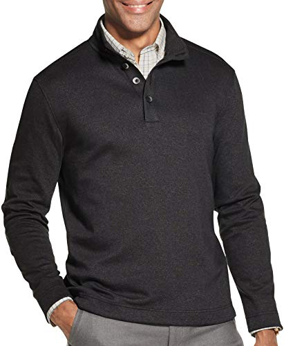 Van Heusen Men's Long Sleeve Never Tuck Jaspe Button Mock Pullover, Black Solid, X-Large