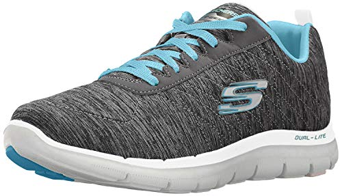 Skechers Women's Flex Appeal 2.0 Fashion Sneaker, black light blue, 5 M US