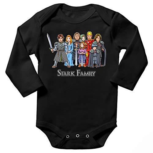 Body bébé Manches Longues Noir Parodie Iron Man - Game of Thrones - Eddard, Catelyn, Robb, Sansa, Arya, Brian et Rickon and Tony Stark (Caricature de Robert Downey Jr) - The Stark Family (with